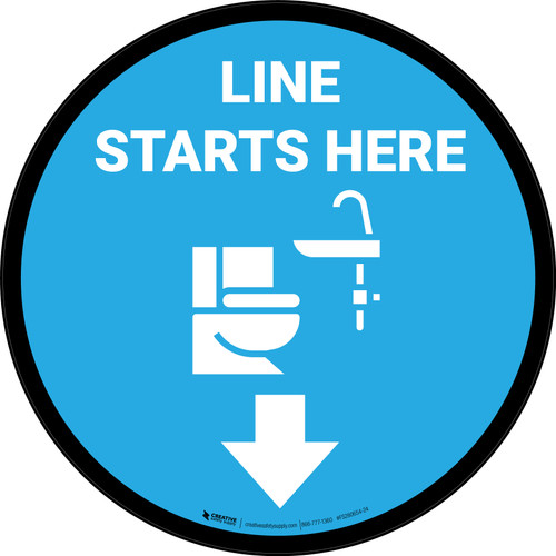 Bathroom Line Starts Here Circle - Floor Sign