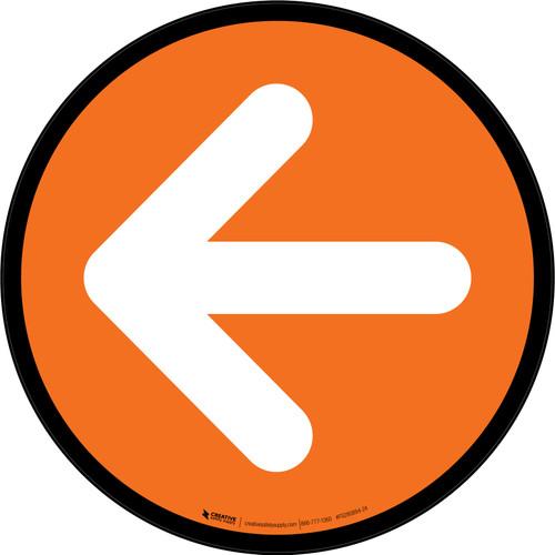 Left Arrow Orange Circular - Floor Sign