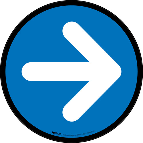 Right Arrow Blue Circular - Floor Sign
