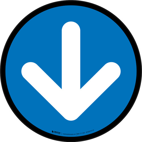 Down Arrow Blue Circular - Floor Sign