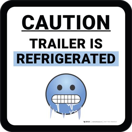 Caution Area is Kept Below Freezing with Emoji Blue Circular - Floor Sign