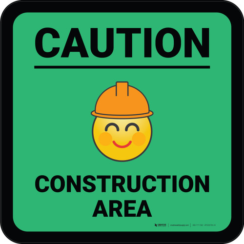 Caution Construction Area with Emoji Red Square - Floor Sign
