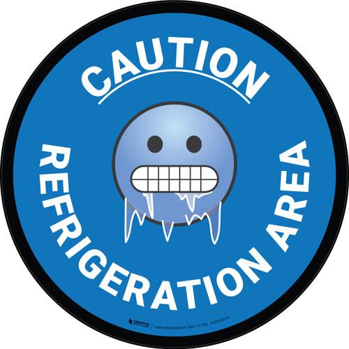 Caution Refrigeration Area with Emoji Circular - Floor Sign