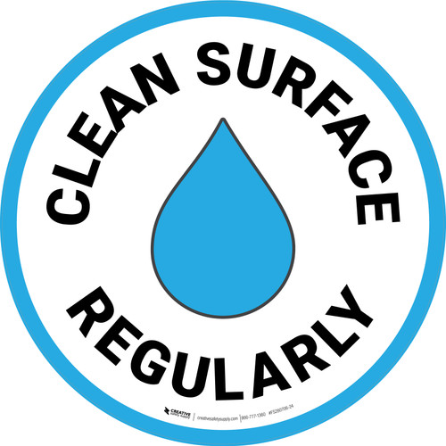 Clean Surface Regularly with Emoji Blue Border Circular - Floor Sign
