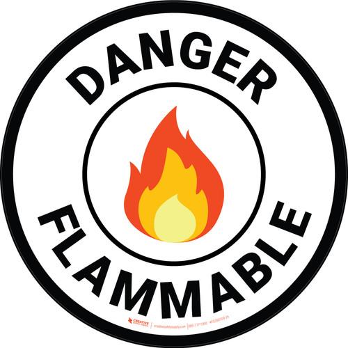 Danger Flammable with Emoji Circular - Floor Sign