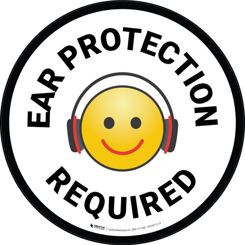 Ear Protection Required with Emoji Circular - Floor Sign
