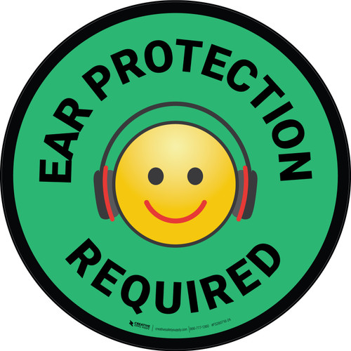 Ear Protection Required with Emoji Green Circular - Floor Sign