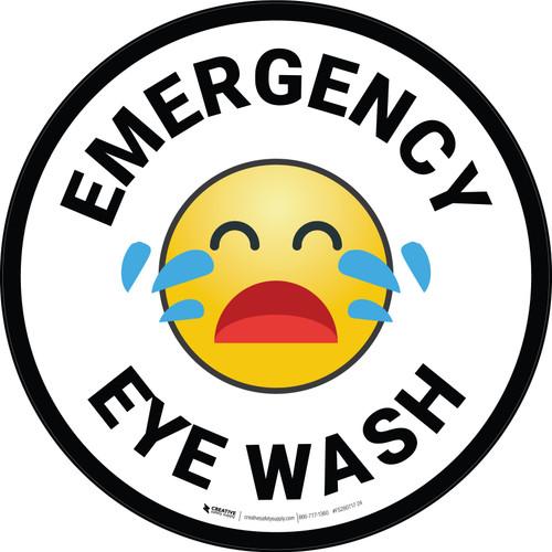 Emergency Eye Wash with Emoji Circular - Floor Sign