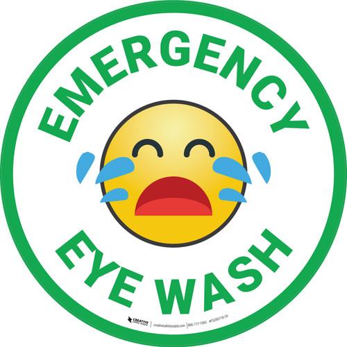 Emergency Eye Wash with Emoji Green Circular - Floor Sign