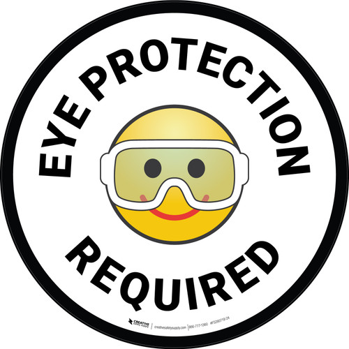 Eye Protection Required with Emoji Circular - Floor Sign