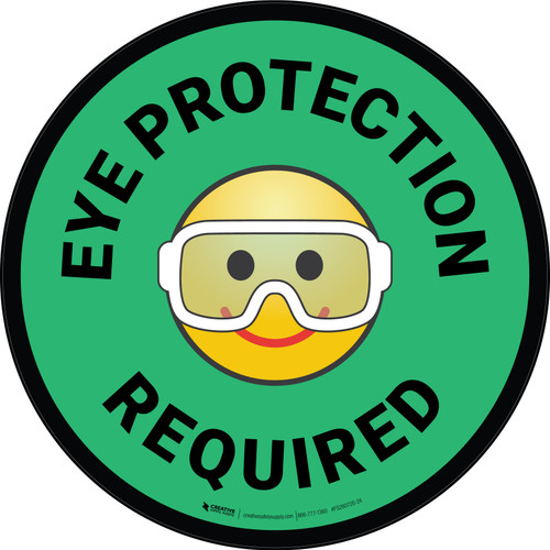 Eye Protection Required with Emoji Green Circular - Floor Sign