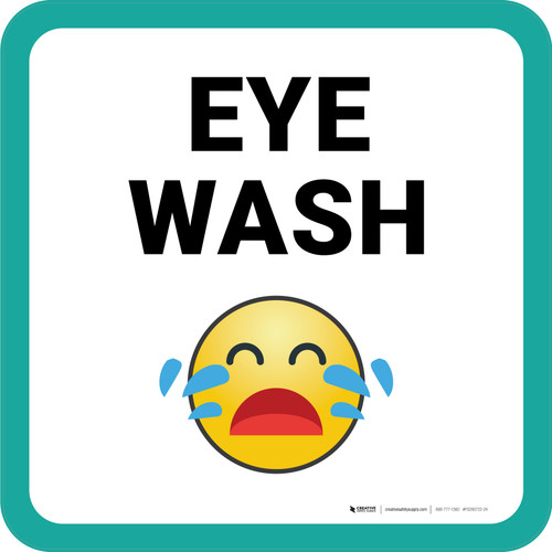 Eye Wash with Emoji Square - Floor Sign