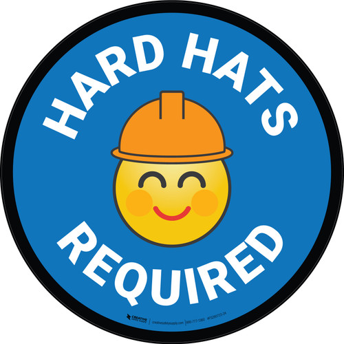 Hard Hats Required with Emoji Blue Circular - Floor Sign