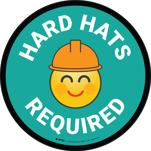Hard Hats Required with Emoji Green Circular - Floor Sign