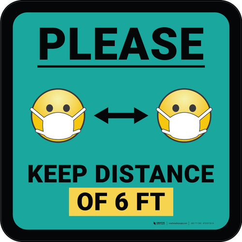 Please Keep Distance of 6 ft with Emojis Blue Square - Floor Sign
