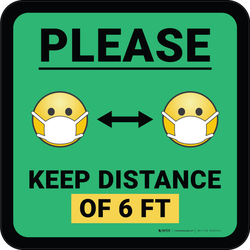 Please Keep Distance of 6 ft with Emojis Green Square - Floor Sign