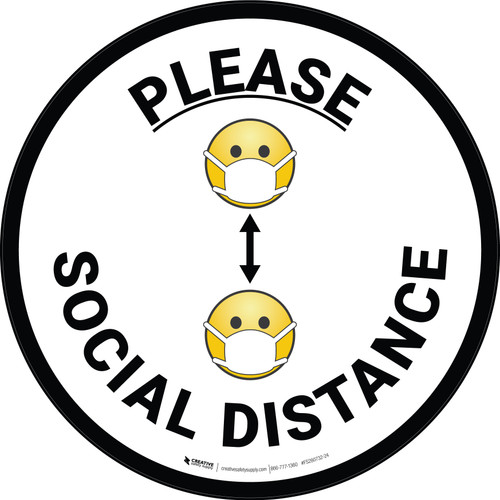 Please Social Distance Multiple Emojis - Floor Sign