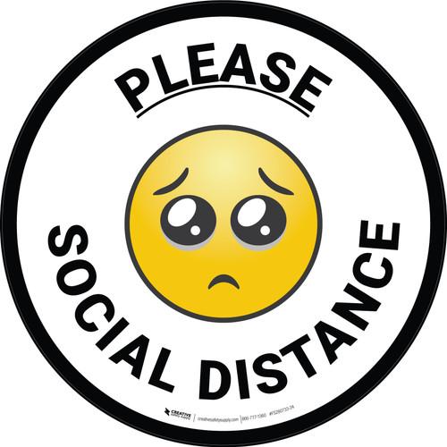 Please Social Distance with Emoji Circular - Floor Sign