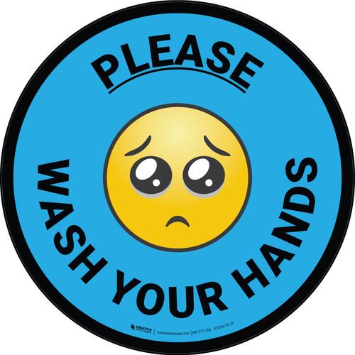 Please Wash Your Hands with Emoji Blue Circular - Floor Sign