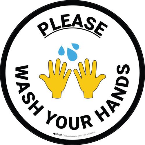 Please Wash Your Hands with Emoji Circular - Floor Sign