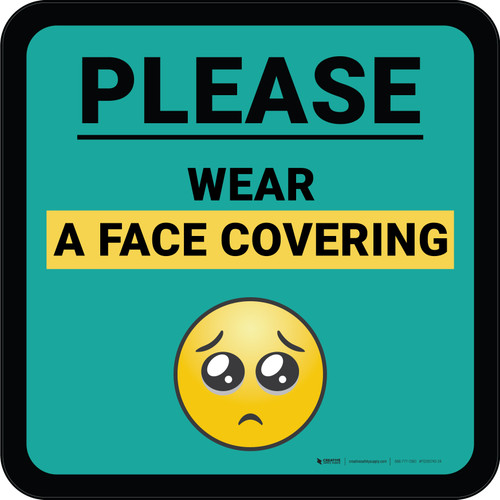 Please Wear A Face Covering with Emoji Blue Square - Floor Sign