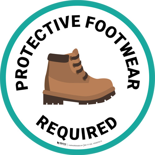 Protective Footwear Required with Emoji Circular - Floor Sign