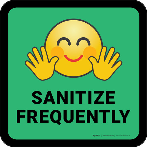 Sanitize Frequently with Emoji Green Square - Floor Sign