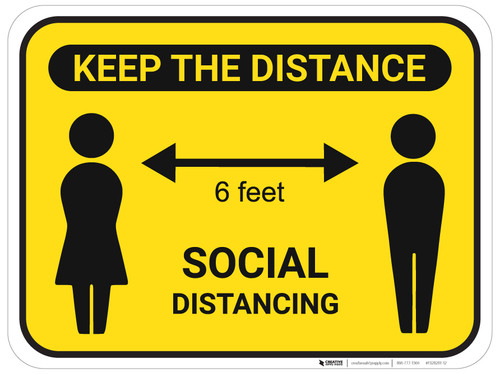 Keep The Distance Social Distancing with Icons - Floor Sign