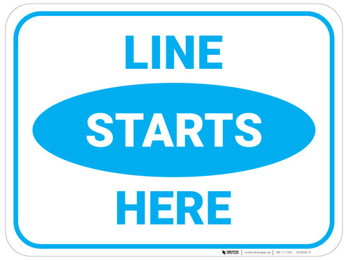 Line Starts Here - Blue - Floor Sign