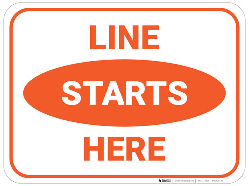 Line Starts Here - Orange - Floor Sign