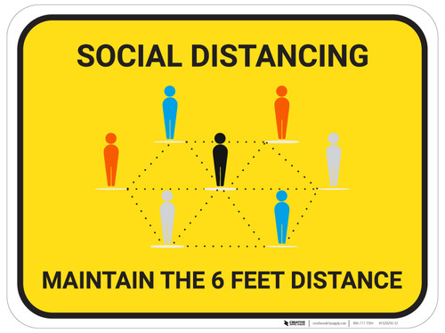 Social Distancing Maintain The 6 Feet Distance with Icons - Floor Sign