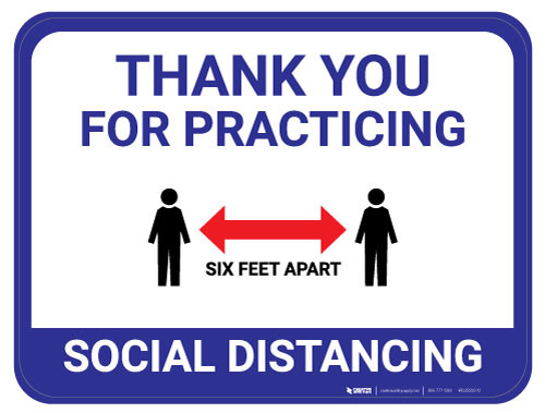 Thank You for Practicing Social Dist - Red Arrow - Blue - Floor Sign