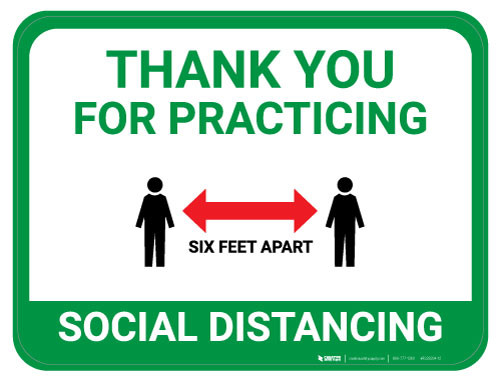 Thank You for Practicing Social Dist - Red Arrow - Green  - Floor Sign