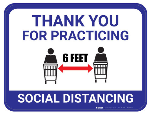 Thank You for Practicing Social Dist - Carts Apart - Blue  - Floor Sign