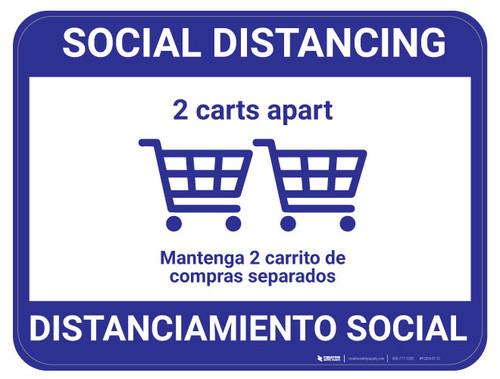 Social Distancing - 2 carts - Blue - Bilingual - Floor Sign
