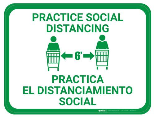 Practice Social Distancing - Green - Bilingual - Floor Sign