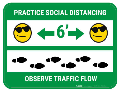 Practice Distancing Observe Flow with Sunglass Emoji - Green  - Floor Sign