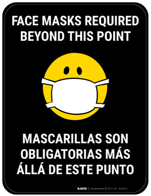 Face Masks Required Beyond This Point Bilingual with Facemask Emoji - Black  - Floor Sign