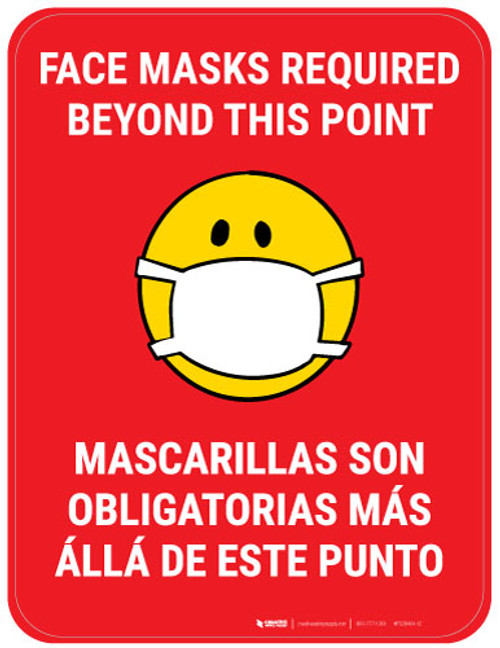 Face Masks Required Beyond This Point Bilingual with Facemask Emoji - Red - Floor Sign
