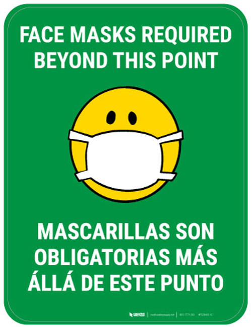 Face Masks Required Beyond This Point Bilingual with Facemask Emoji - Green - Floor Sign