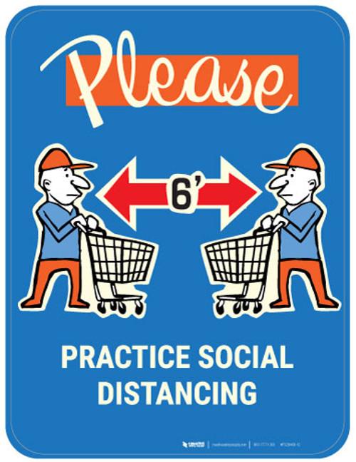Please Practice Social Distancing with Emoji Shopper - Blue - Floor Sign