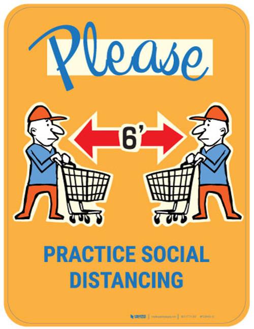 Please Practice Social Distancing with Emoji Shopper - Gold - Floor Sign