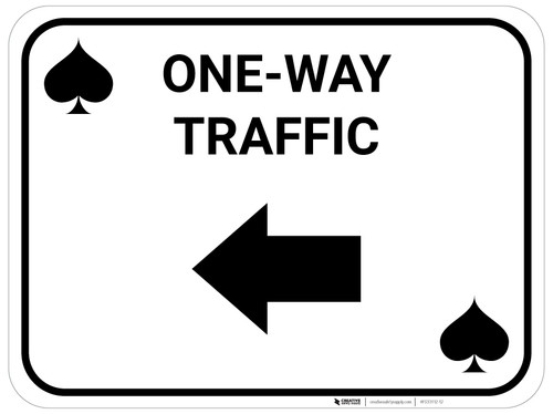 One Way Traffic Left Arrow Black Spades - Rectangle Casino - Floor Sign