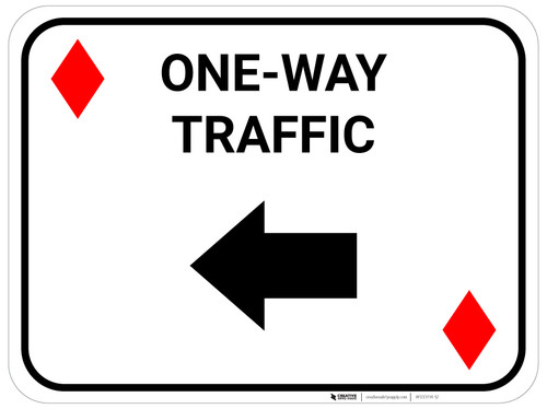 One Way Traffic Left Arrow Red Diamonds - Rectangle Casino - Floor Sign
