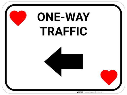 One Way Traffic Left Arrow Red Hearts - Rectangle Casino - Floor Sign