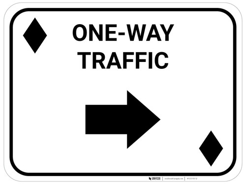 One Way Traffic Right Arrow Black Diamonds - Rectangle Casino - Floor Sign