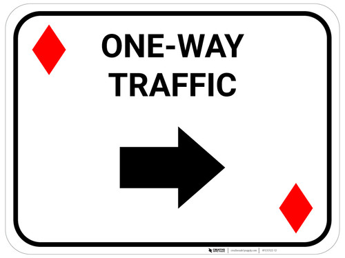 One Way Traffic Right Arrow Red Diamonds - Rectangle Casino - Floor Sign