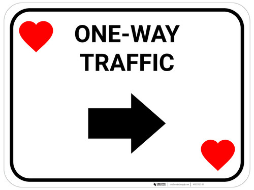 One Way Traffic Right Arrow Red Hearts - Rectangle Casino - Floor Sign