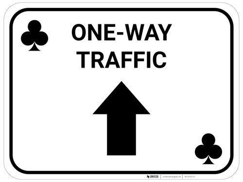 One Way Traffic Up Arrow Black Clubs - Rectangle Casino - Floor Sign