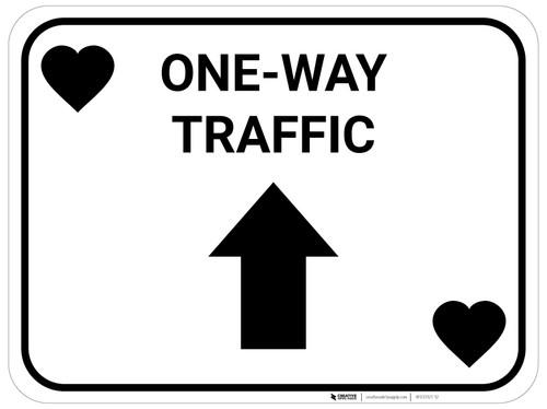 One Way Traffic Up Arrow Black Hearts - Rectangle Casino - Floor Sign